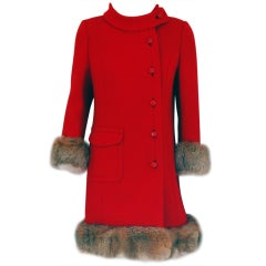 1960's Rich Ruby-Red Wool & Genuine Fox-Fur Tailored Coat