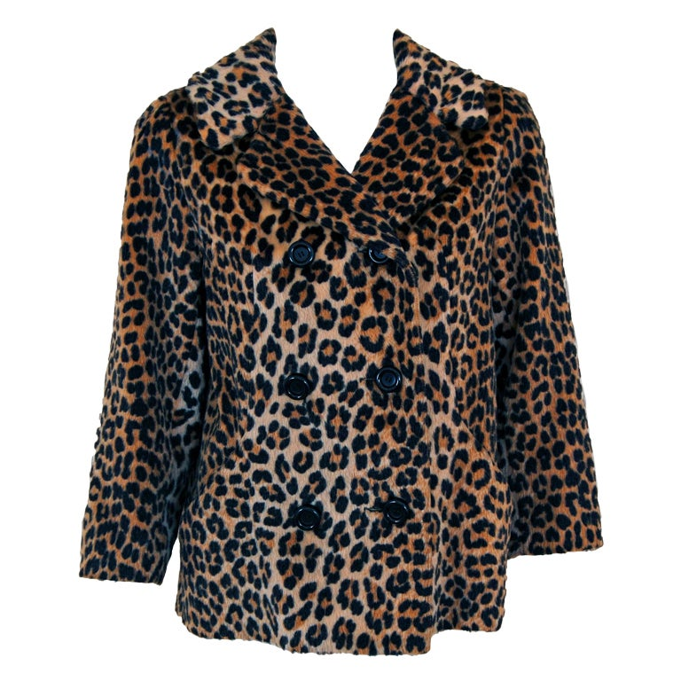 ba150759aad 1960's Somali Leopard-Print Faux Fur Double-Breasted Jacket Coat For Sale