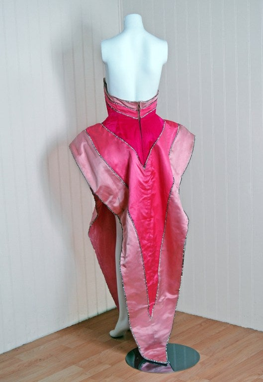 1950's Historical Yma Sumac Strapless Pink-Ombre Satin Gown image 5