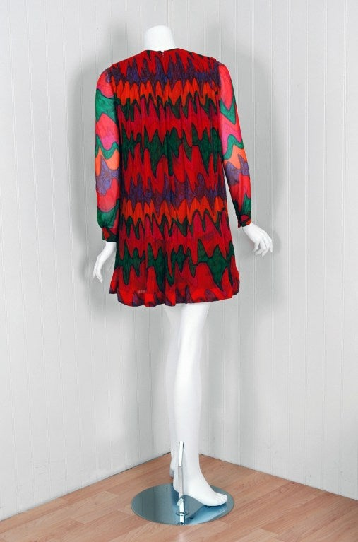 1968 Pierre Cardin Colorful Psychedelic Pleated Silk-Chiffon Mod Mini Dress 5