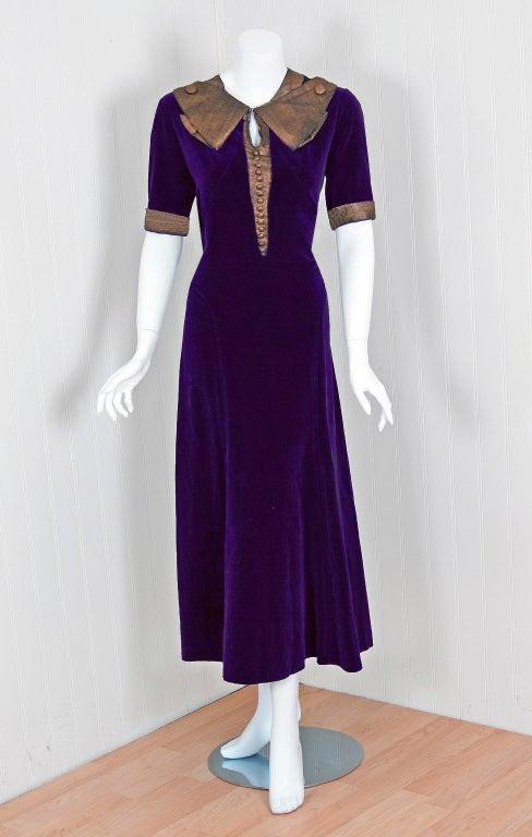 1930 S Paquin Haute Couture Purple Velvet Lame Tea Dress At 1stdibs