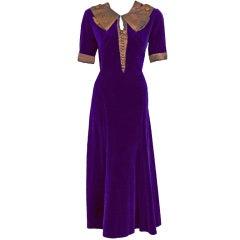 1930's Paquin Haute-Couture Purple-Velvet Lame Tea Dress