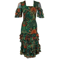 1970's Thea Porter Couture Colorful Print Silk-Chiffon Tiered Dress