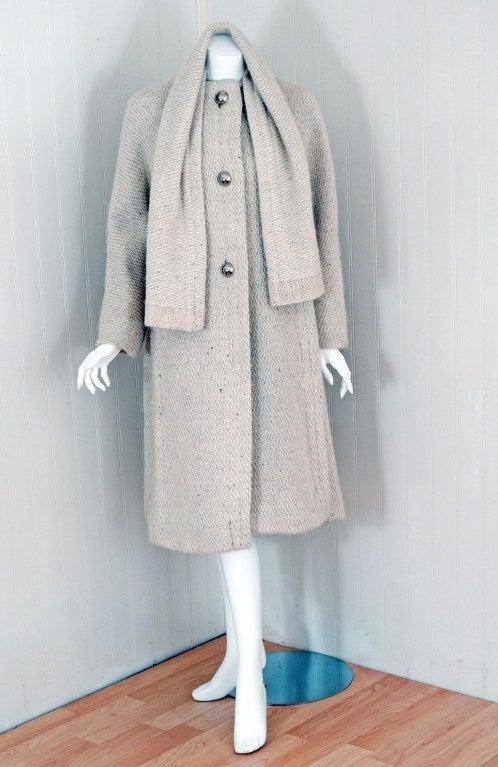 1960's Pauline Trigere Ivory-Creme Wool Scarf-Neck Swing Coat 3