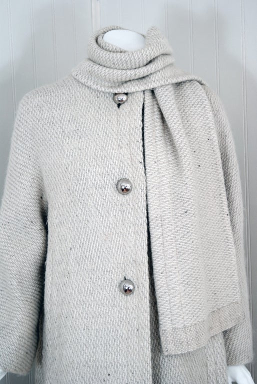 1960's Pauline Trigere Ivory-Creme Wool Scarf-Neck Swing Coat 4