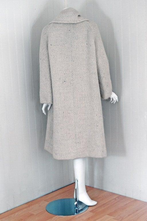 1960's Pauline Trigere Ivory-Creme Wool Scarf-Neck Swing Coat 6