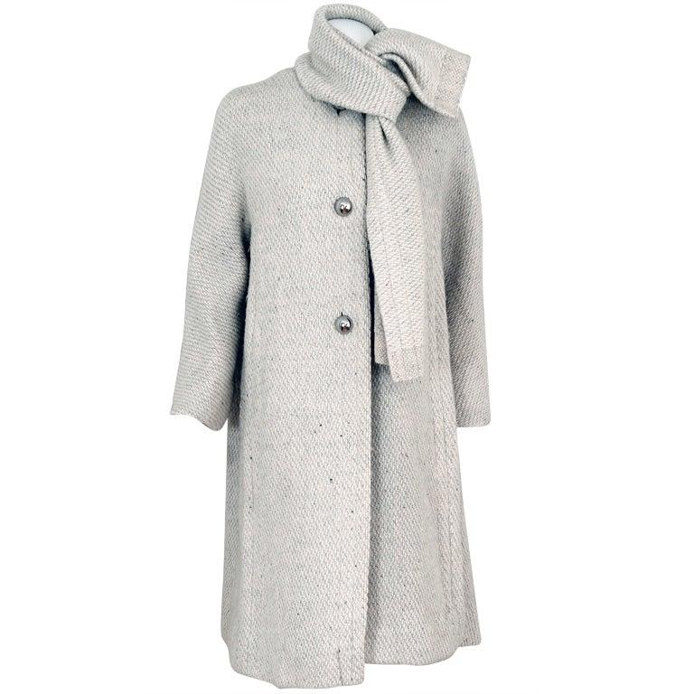 1960's Pauline Trigere Ivory-Creme Wool Scarf-Neck Swing Coat 1