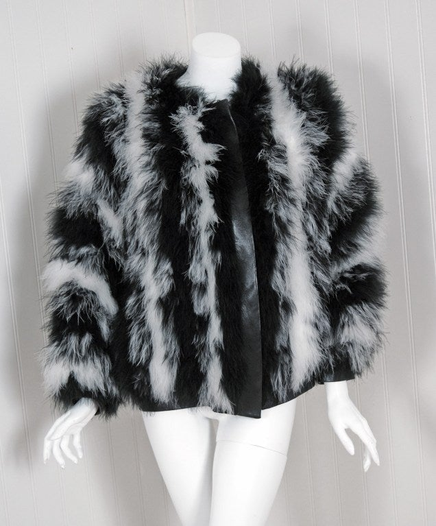 1970's Yves Saint Laurent Black & White Marabou-Feather Jacket image 2