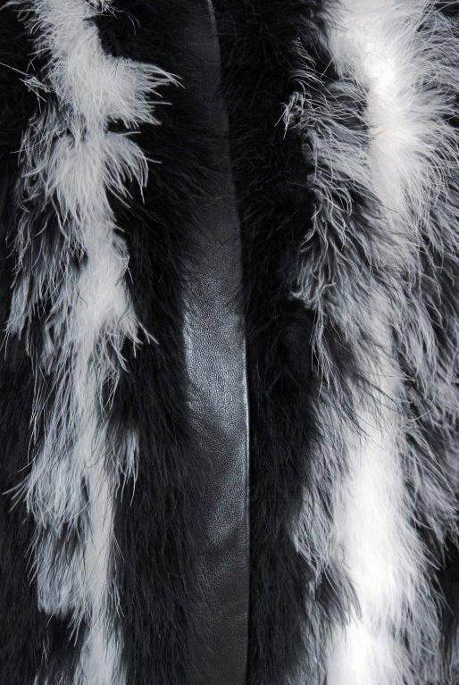 1970's Yves Saint Laurent Black & White Marabou-Feather Jacket image 3