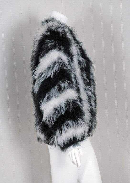 1970's Yves Saint Laurent Black & White Marabou-Feather Jacket image 4