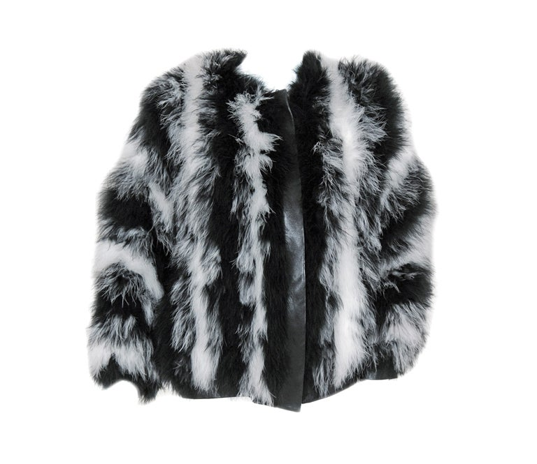 1970's Yves Saint Laurent Black & White Marabou-Feather Jacket