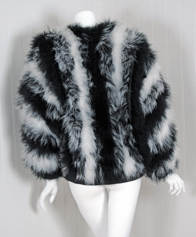 1970's Yves Saint Laurent Black & White Marabou-Feather Jacket image 5