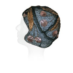 1920's Metallic Cherries Novelty Sequin Embroidery Gold-Lame Cloche Hat
