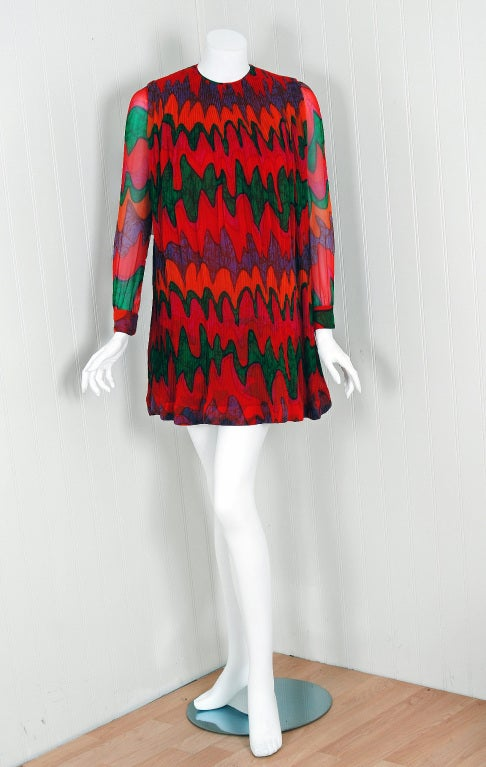 1968 Pierre Cardin Colorful Psychedelic Pleated Silk-Chiffon Mod Mini Dress 2