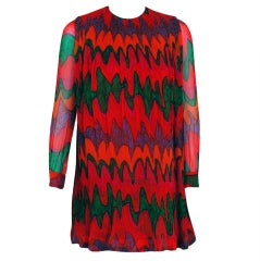 1968 Pierre Cardin Colorful Psychedelic Pleated Silk-Chiffon Mod Mini Dress