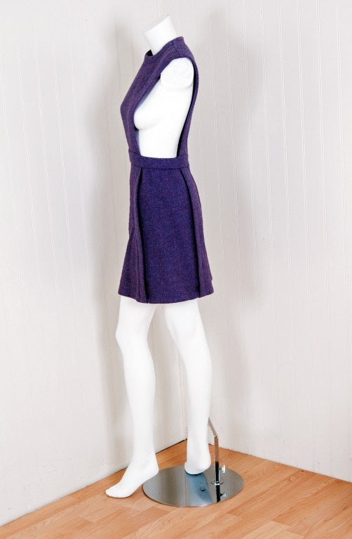1960 S Pierre Cardin Lilac Purple Wool Space Age Pinafore