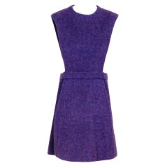 1960's Pierre Cardin Lilac-Purple Wool Space-Age Pinafore Dress