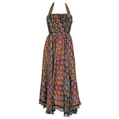 1970's Thea Porter Beaded Sequin Print Silk-Chiffon Halter Dress