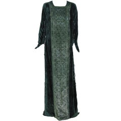 1925 Mariano Fortuny Couture Gold Metallic Stenciled Silk-Velvet Tabard Gown