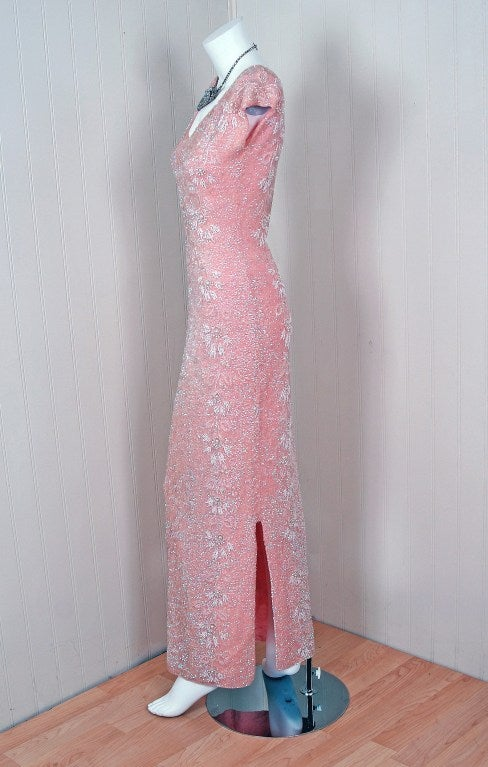 1950's Gene Shelly Pale-Pink Sequin Beaded Hourglass Gown 2