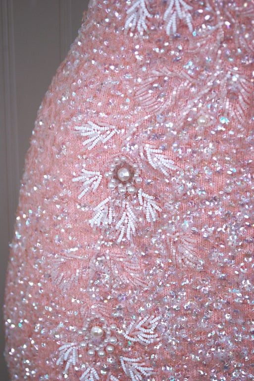 1950's Gene Shelly Pale-Pink Sequin Beaded Hourglass Gown 3
