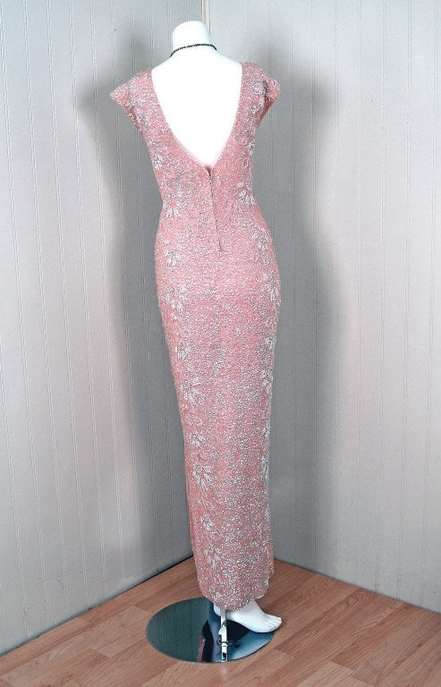 1950's Gene Shelly Pale-Pink Sequin Beaded Hourglass Gown 4