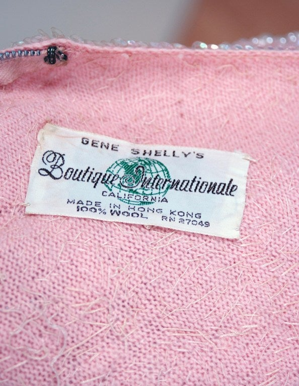 1950's Gene Shelly Pale-Pink Sequin Beaded Hourglass Gown 5