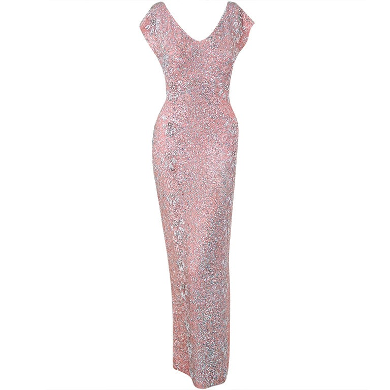 1950's Gene Shelly Pale-Pink Sequin Beaded Hourglass Gown 1