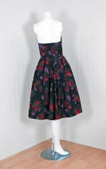 1950's Ceil Chapman Watercolor Silk Floral Print Strapless Dress thumbnail 4
