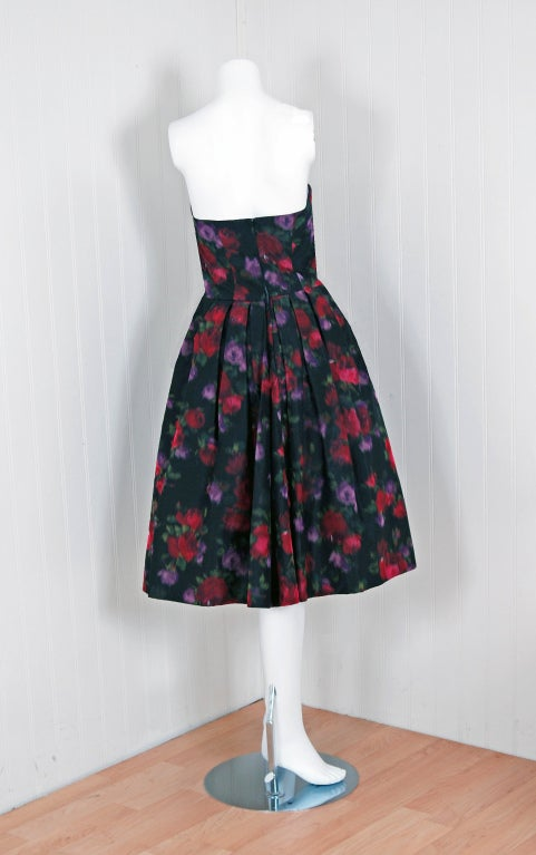 1950's Ceil Chapman Watercolor Silk Floral Print Strapless Party Dress image 4