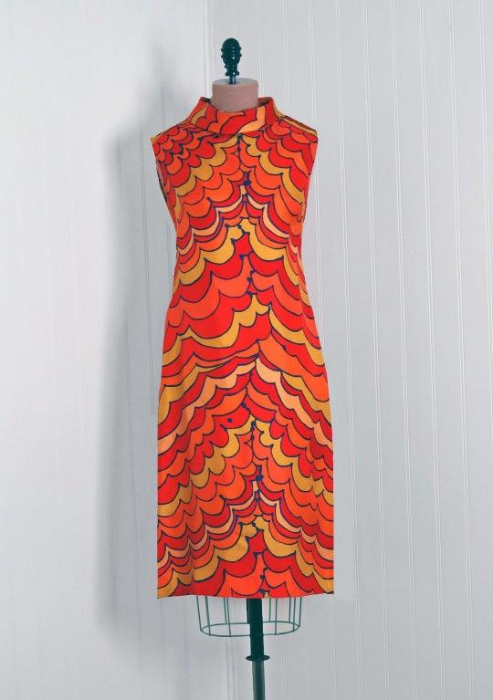 1960's Pierre Balmain Op-Art Psychedelic Silk Mod Shift Dress 2