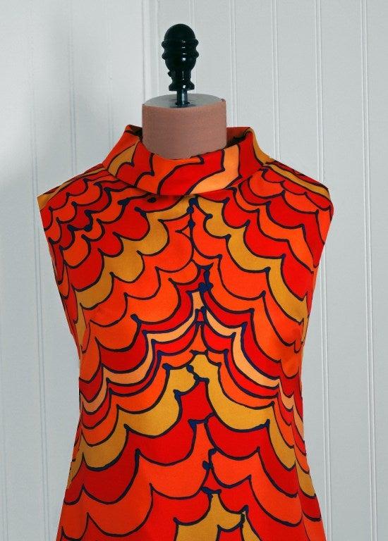 1960's Pierre Balmain Op-Art Psychedelic Silk Mod Shift Dress 3