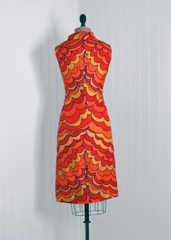 1960's Pierre Balmain Op-Art Psychedelic Silk Mod Shift Dress 5