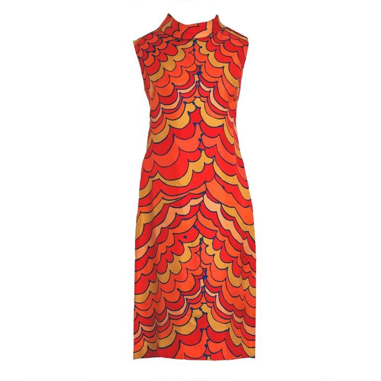 1960's Pierre Balmain Op-Art Psychedelic Silk Mod Shift Dress 1