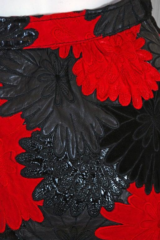 1990's Valentino Rare Black & Red Applique Cutwork Leather Skirt 2