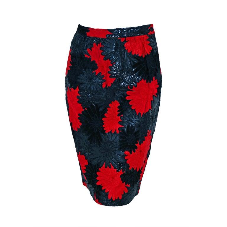 1990's Valentino Rare Black & Red Applique Cutwork Leather Skirt 1