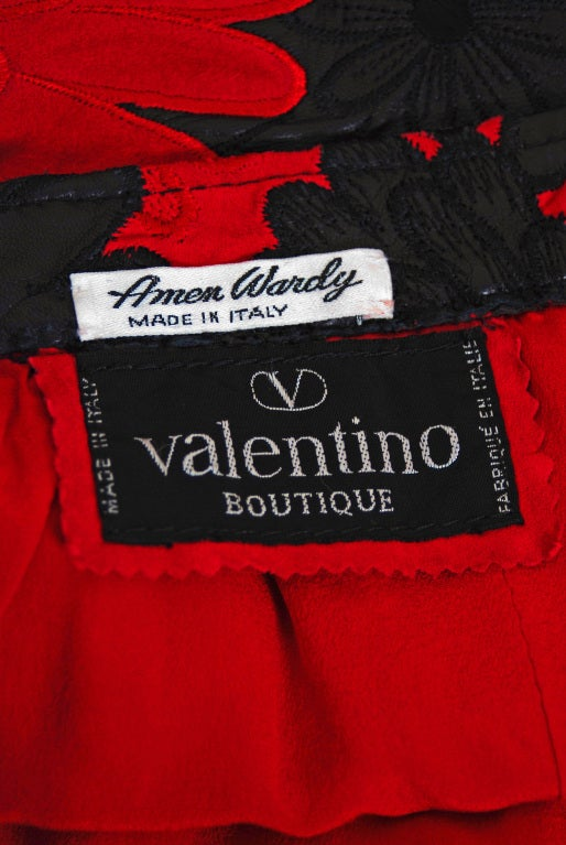 1990's Valentino Rare Black & Red Applique Cutwork Leather Skirt 6