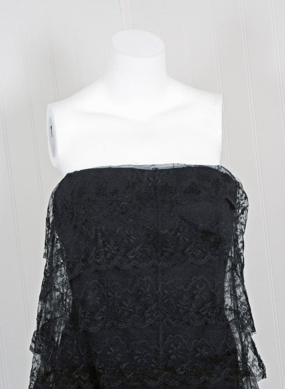 1960's Jean Louis Black Chantilly-Lace Tiered Strapless Cocktail Party Dress 2