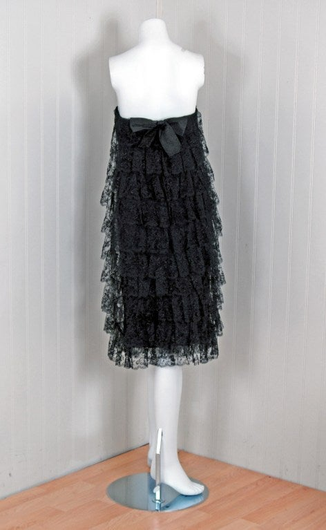 1960's Jean Louis Black Chantilly-Lace Tiered Strapless Cocktail Party Dress 4