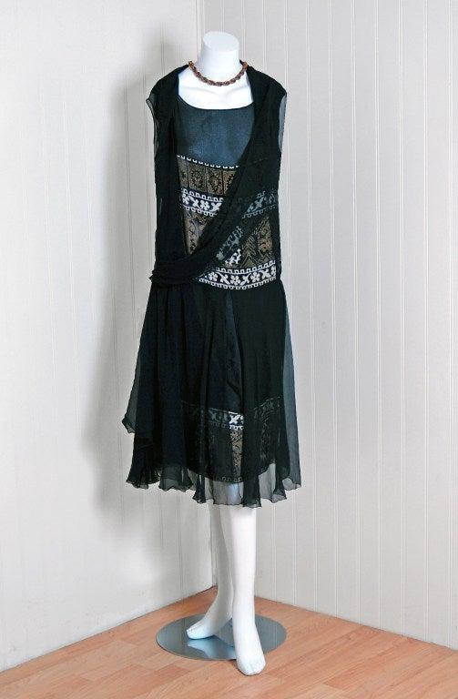 1920's Cecile et Lafontan Couture Asymmetric Grecian Silk-Chiffon Flapper Dress 2