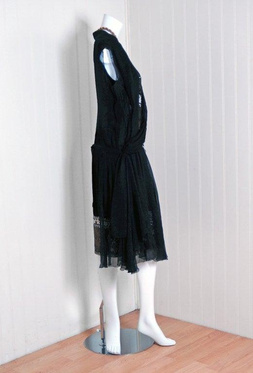 1920's Cecile et Lafontan Couture Asymmetric Grecian Silk-Chiffon Flapper Dress 3