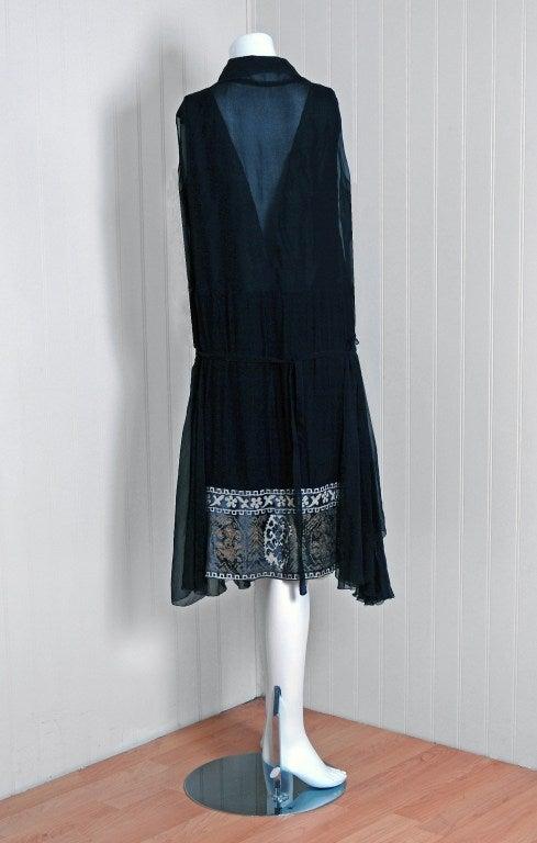 1920's Cecile et Lafontan Couture Asymmetric Grecian Silk-Chiffon Flapper Dress 6