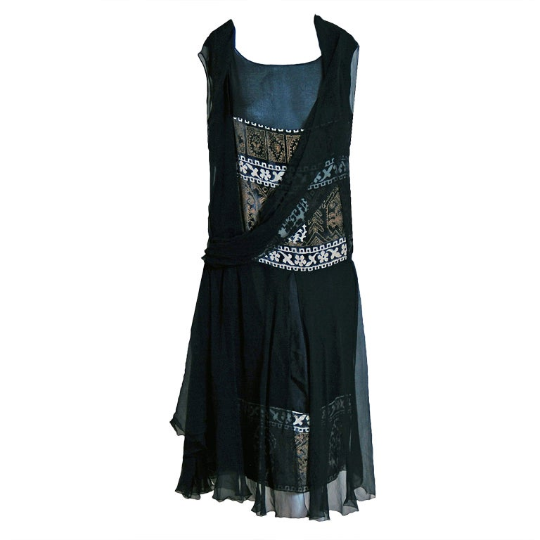 1920's Cecile et Lafontan Couture Asymmetric Grecian Silk-Chiffon Flapper Dress 1