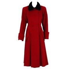 1940's Ruby-Red Wool & Persian Lamb Princess Coat with Muff