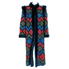 1970's Christian Dior Colorful Suede & Shearling Patchwork Coat