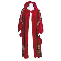 1920's Madeleine Paris-Couture Magenta Velvet & Gold Lame Coat