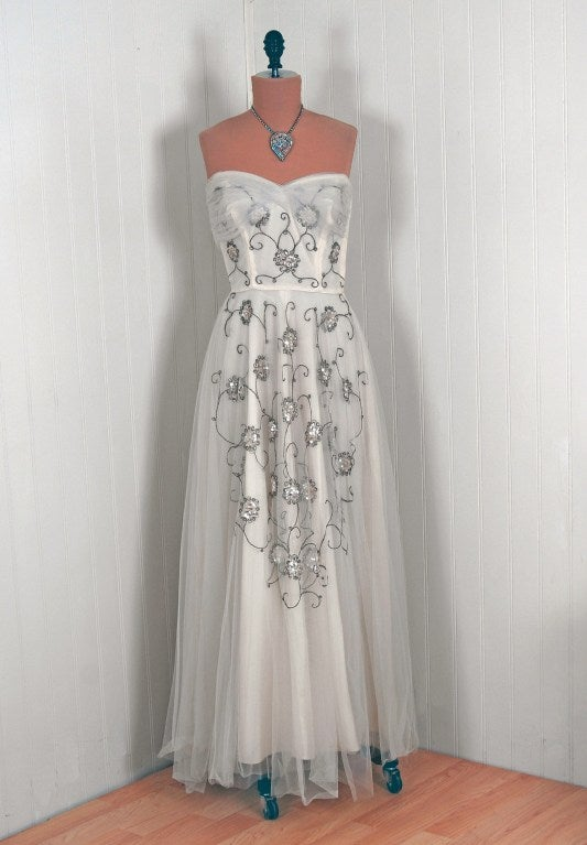 1940's Bergdorf Goodman Ivory-White Sequin Metallic Embroidery Strapless Gown 2