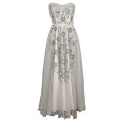 1940's Bergdorf Goodman Ivory-White Sequin Metallic Embroidery Strapless Gown