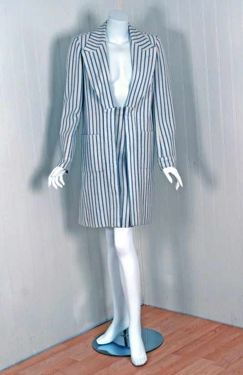 Hermès Paris has whispered the ultimate in luxury since 1837. This beautiful two-piece suit is a perfect example of this brand's elegant allure. The fabric used for this garment is breathtaking; royal blue and ivory white pinstripe soft