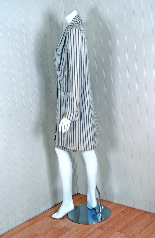 Gray 1960's Hermes Paris Blue & Ivory Pinstripe Wool Mod Skirt Jacket Suit Ensemble For Sale